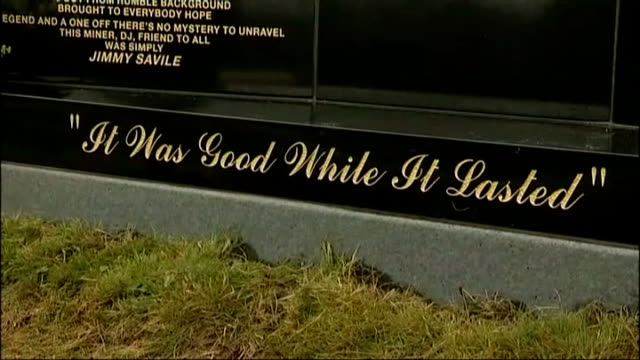jimmy savile abuse claims / number of allegations growing 20912 yorkshire scarborough jimmy savile's headstone in scarborough cemetery zoom in to... - engraved image stock videos and b-roll footage