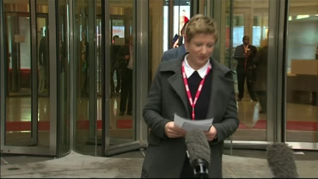 bbc culture of 'deference' blamed in leaked report t19121209 / tx various shots liz mackean and meirion jones towards to speak to press - liz mackean stock videos & royalty-free footage