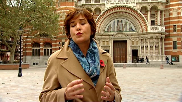 family speak out; london: westminster cathedral: ext reporter to camera - westminster cathedral stock videos & royalty-free footage
