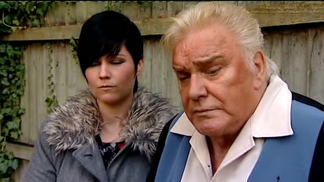Freddie Starr questioned for second time T09101228 / TX Freddie Starr with Sophie Lea talking to reporter by fence Freddie Starr interview SOT Never...