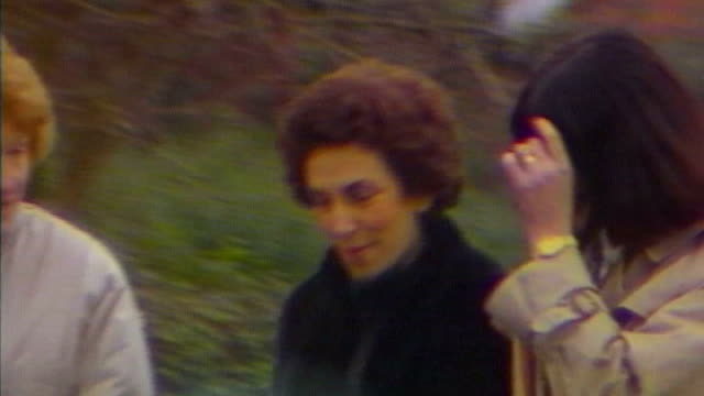 jimmy savile sexual abuse allegations / former broadmoor nurses speak out 1980s ext edwina currie walking with others - ジミー サヴィル点の映像素材/bロール