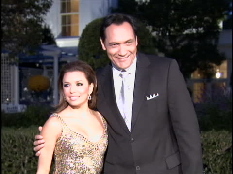 jimmy smits and eva longoria pose for cameras together at the fiesta latina event at the white house. - jimmy smits stock videos & royalty-free footage