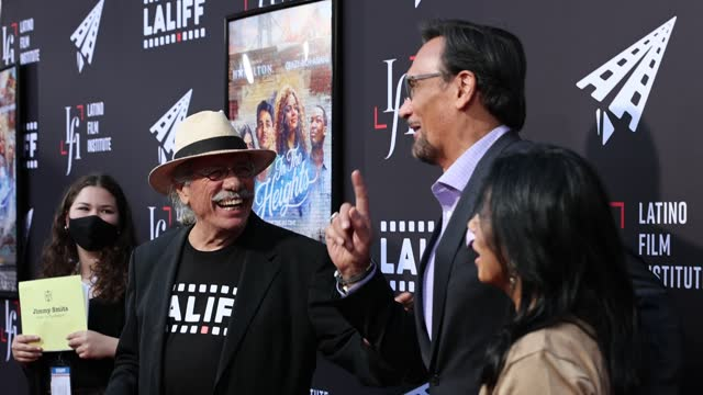 """jimmy smits and wanda de jesus attend a special preview screening of """"in the heights"""" during the 2021 los angeles latino international film festival... - ジミー スミッツ点の映像素材/bロール"""