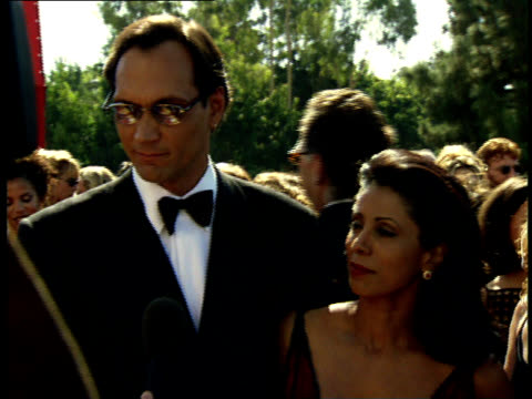 jimmy smits talks to reporters on the red carpet at the 50th annual emmy awards - jimmy smits stock videos and b-roll footage