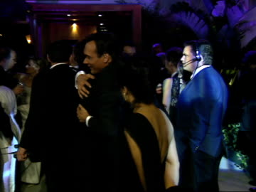 jimmy smits talks with tom hanks and rita wilson at the vanity fair oscar party. - jimmy smits stock videos & royalty-free footage