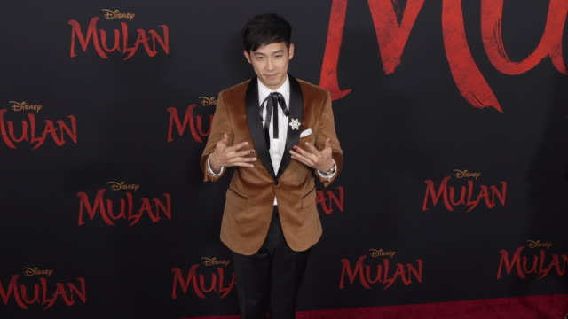 jimmy wong at the world premiere of disney's mulan - gif stock videos & royalty-free footage