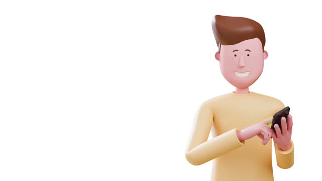 jimmy's 3d man using smartphone touchscreen on white background. alpha channel matte composition. concept : technology, device, human, promotes, shopping ,copyspace. - animation moving image stock videos & royalty-free footage