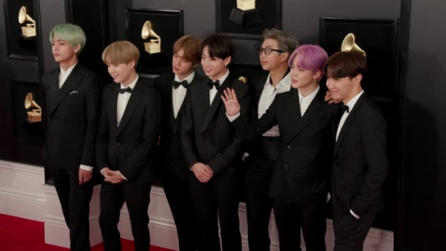 RM Jin Suga JHope V Jimin and Jungkook at the 61st Grammy Awards Arrivals EDITORIAL USE ONLY at Staples Center on February 10 2019 in Los Angeles...