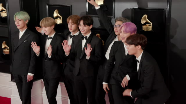 jin, suga, j-hope, v, jimin and jungkook at the 61st grammy awards - arrivals - editorial use only at staples center on february 10, 2019 in los... - editorial stock videos & royalty-free footage