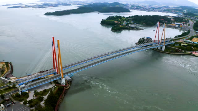 jindodaegyo bridge near uldolmok strait (myeongnyang strait) between jindo and haenam county / jeollanam-do, south korea - parking stock videos & royalty-free footage