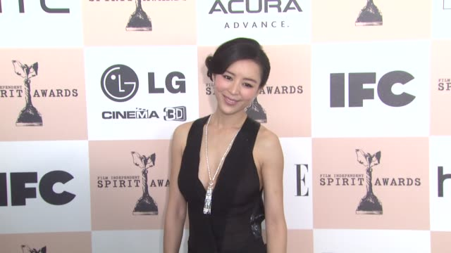 jingchu zhang at the 2011 independent spirit awards - arrivals part 2 at santa monica ca. - independent feature project stock videos & royalty-free footage