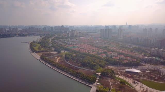 AERIAL WS Jinji Lake and city of Suzhou, Jiangsu Province, China