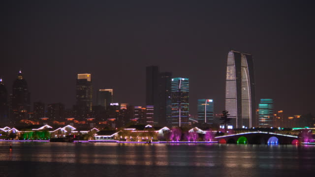 ws pan jinji lake and skyline of suzhou at night, jiangsu province, china - boat point of view stock videos & royalty-free footage