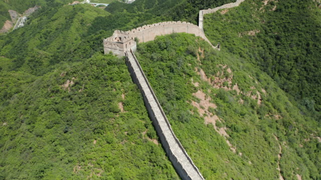 aerial ws jinshangling section of great wall of china, luanping county, hebei province, china - international landmark video stock e b–roll