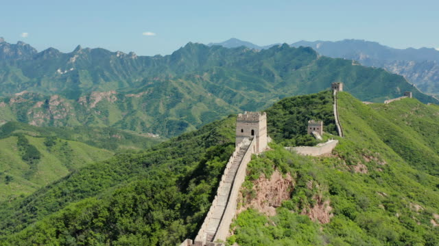 aerial ws jinshangling section of great wall of china, luanping county, hebei province, china - great wall of china stock videos & royalty-free footage