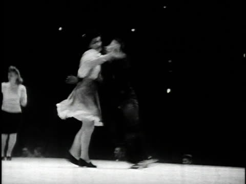 1945 B/W MONTAGE Jitterbug dancers at Harvest Moon Ball, Madison Square Garden / New York City, USA / AUDIO