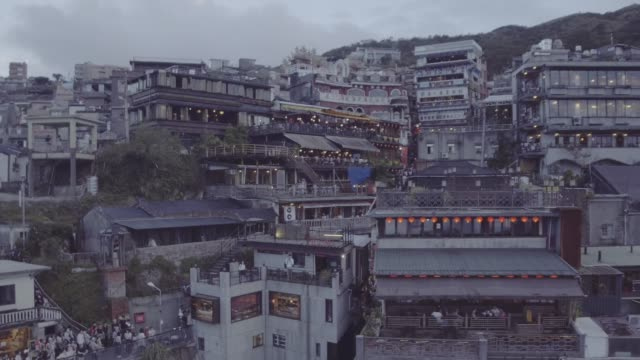 jiufen village in new taipei city, taiwan - old town stock videos & royalty-free footage