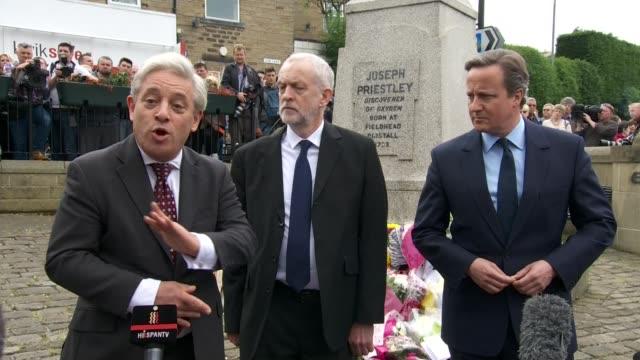 david cameron and jeremy corbyn lay tributes in birstall john bercow mp speaking to press sot / bercow corbyn and cameron away / people along /... - jo cox politikerin stock-videos und b-roll-filmmaterial