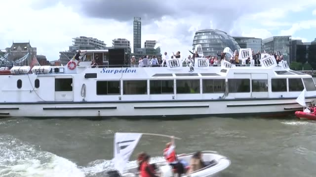 legacy of her humanitarian work lib / t15061627 'in' flotilla boat on river thames - flotilla stock videos & royalty-free footage