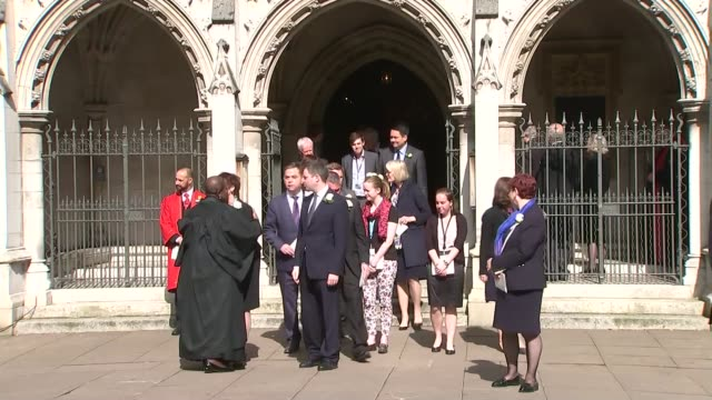 mps leave st margaret's church diane abbott mp / jim mcmahon mp / stephen crabb mp / penny mordaunt mp / more mps along / tessa jowell and oona king - jo cox politician stock videos and b-roll footage