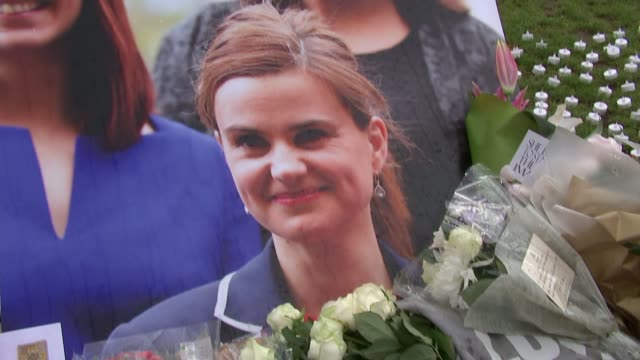 nigel farage leaves flowers england london westminster general views floral tributes left for jo cox in parliament square / nigel farage mep along... - jo cox politikerin stock-videos und b-roll-filmmaterial