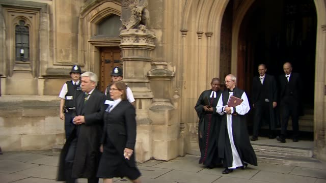 procession from parliament england london westminster ext john bercow along from houses of parliament st stephen's entrance with frances d'souza... - david cameron politician stock videos & royalty-free footage