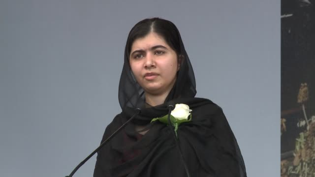 trafalgar square tribute; malala yousafzai speech sot mariella frostrup speech sot - mariella frostrup stock videos & royalty-free footage