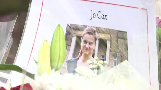 jury shown pictures inside thomas mair's house t18061601 / tx photograph of jo cox amongst the tributes floral tributes - jo cox politikerin stock-videos und b-roll-filmmaterial