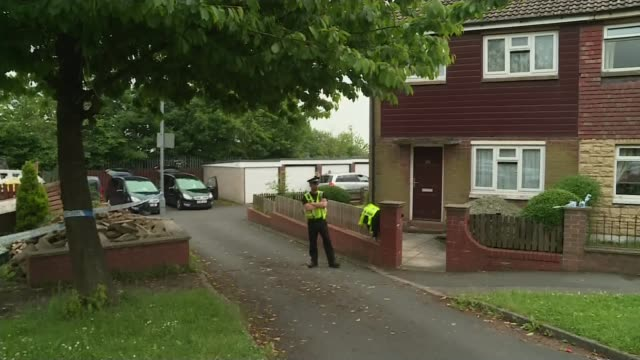 jury shown pictures inside thomas mair's house r16061614 / 1662016 police officer outside house where thomas mair lived windows of house end lib - thomas mair stock videos and b-roll footage