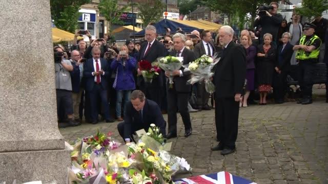 tributes led by jeremy corbyn and david cameron england west yorkshire birstall ext various shots hilary benn mp john bercow david cameron mp rose... - hilary benn stock-videos und b-roll-filmmaterial