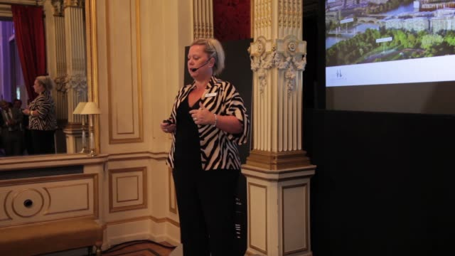 interview jo skilton speech at battersea power station global tour launch event in paris at the british embassy on october 29 2014 in paris city - バタシー発電所点の映像素材/bロール