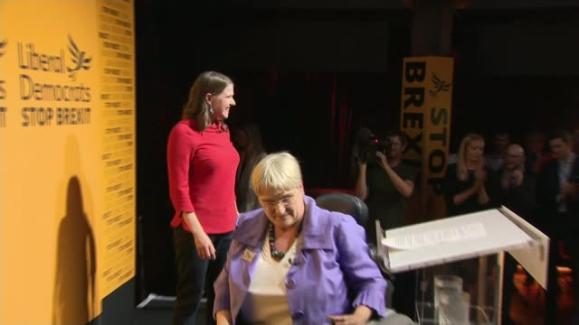 jo swinson elected new leader of liberal democrats; uk, london, westminster; jo swinson mp celebrating after being announced as new liberal democrat... - british liberal democratic party stock videos & royalty-free footage