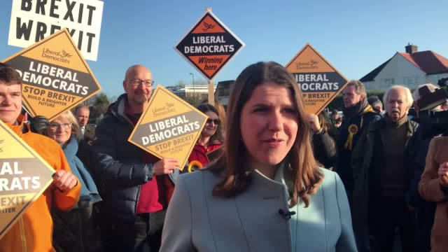jo swinson has called on people to vote tactically to stop a conservative majority at a campaign rally in surrey. the liberal democrat leader says... - conservative party uk stock videos & royalty-free footage