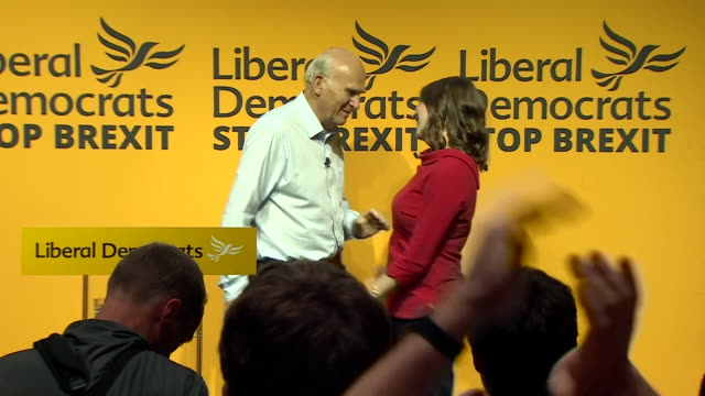 jo swinson, new leader of the liberal democrats, hugs sir vince cable at leadership handover rally, london - vince cable stock videos & royalty-free footage