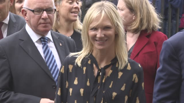 jo whiley at a service of thanksgiving for the life and work of sir terry wogan at westminster abbey on september 27, 2016 in london, england. - テリー ウォーガン点の映像素材/bロール