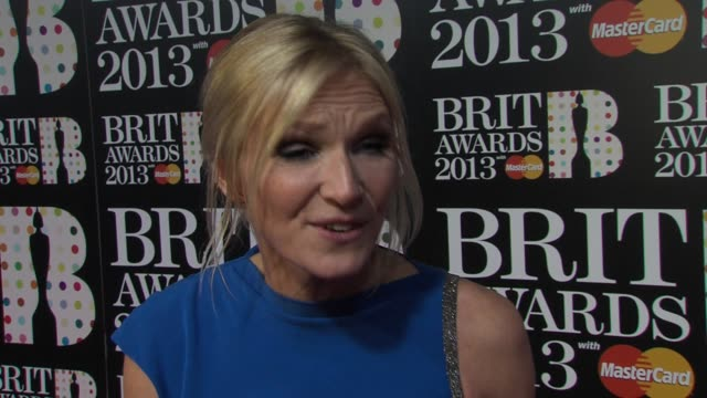 stockvideo's en b-roll-footage met interview jo whiley on the variety of talent who she think will win being backstage at the brit awards arrivals at o2 arena on february 20 2013 in... - jo whiley