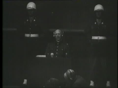 joachim von ribbentrop denies knowledge of military pressure against austria during the nuremberg trials. - nuremberg trials stock videos & royalty-free footage