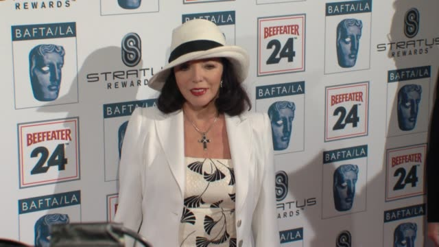 joan collins at the bafta la's 16th annual awards season tea party at beverly hills ca - bafta la tea party stock videos and b-roll footage