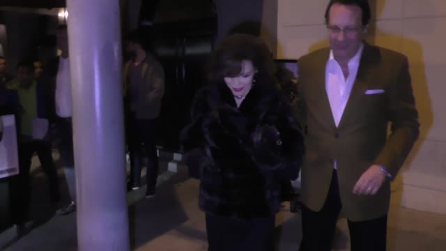 Joan Collins Percy Gibson dine at Craig's Restaurant in West Hollywood in Celebrity Sightings in Los Angeles
