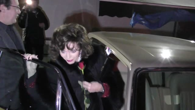 Joan Collins Percy Gibson leave a Valentine's Day dinner at Craig's in West Hollywood in Celebrity Sightings in Los Angeles
