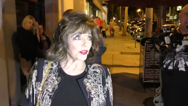 INTERVIEW Joan Collins talks sexual harassment at Craigs in West Hollywood in Celebrity Sightings in Los Angeles