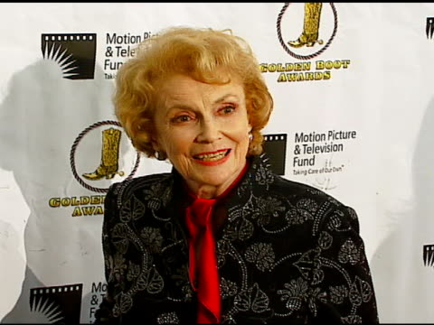 joan leslie at the the motion picture and television fund's 24th golden boot awards at the beverly hilton in beverly hills california on august 12... - motion picture & television fund stock videos & royalty-free footage