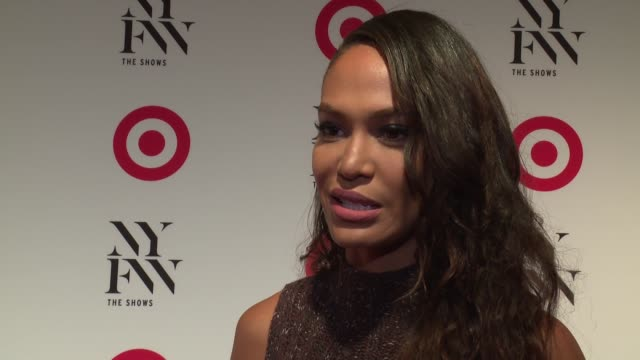 interview joan smalls on the upcoming nyfw and shopping at target at target img nyfw kickoff event at the park at moynihan station on september 06... - joan smalls stock videos & royalty-free footage