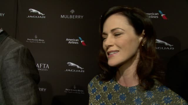 interview joanna going on being at the event on what makes the bafta tea party one of the most prestigious events of the weekend and on getting ready... - tea party stock videos and b-roll footage