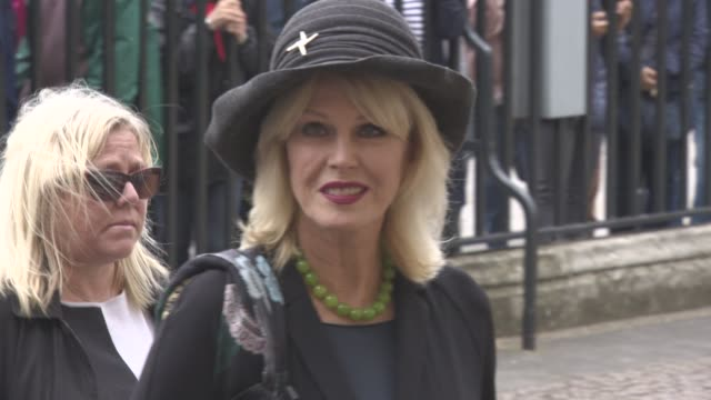 joanna lumley at a service of thanksgiving for the life and work of sir terry wogan at westminster abbey on september 27, 2016 in london, england. - terry wogan stock-videos und b-roll-filmmaterial