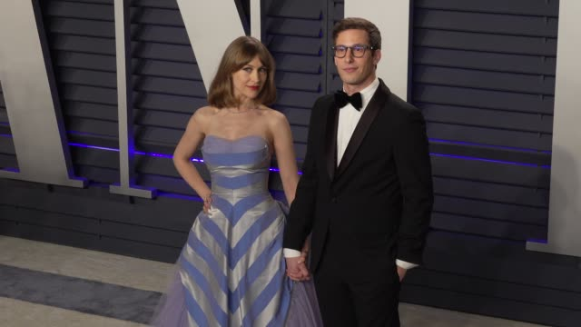 Joanna Newsom and Andy Samberg at 2019 Vanity Fair Oscar Party Hosted By Radhika Jones at Wallis Annenberg Center for the Performing Arts on February...