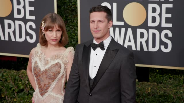 Joanna Newsom and Andy Samberg at 76th Annual Golden Globe Awards Arrivals at The Beverly Hilton Hotel on January 06 2019 in Beverly Hills California...