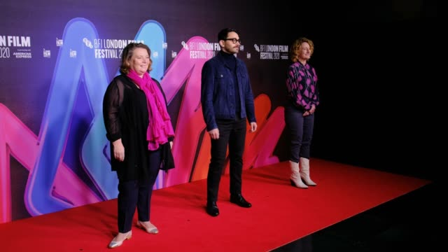 "joanna scanlan, director aleem khan and bfi london film festival director tricia tuttle attend the ""after love"" premiere during the 64th bfi london... - bfi southbank stock videos & royalty-free footage"