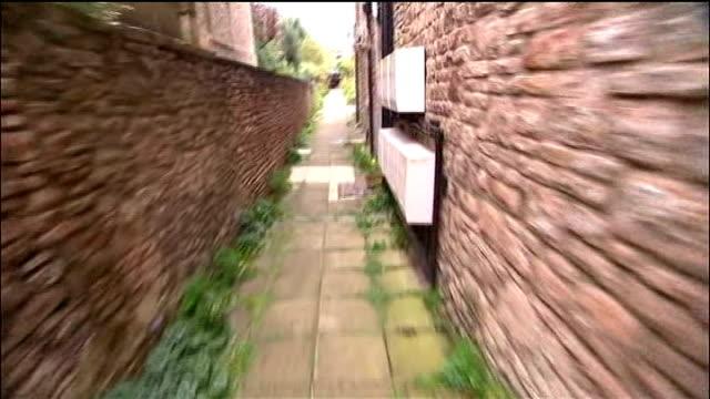 defendant vincent tabak gives evidence shot allong passageway alongside joanna yeates's flat - defendant stock videos and b-roll footage
