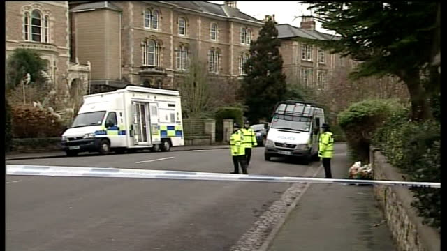 Vincent Tabak makes first court appearance Bristol Canynge Road EXT PAN to police investigators at work in cordonned off road Flowers propped against...